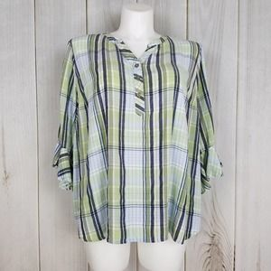 Catherines Blue Green Plaid Tunic Blouse